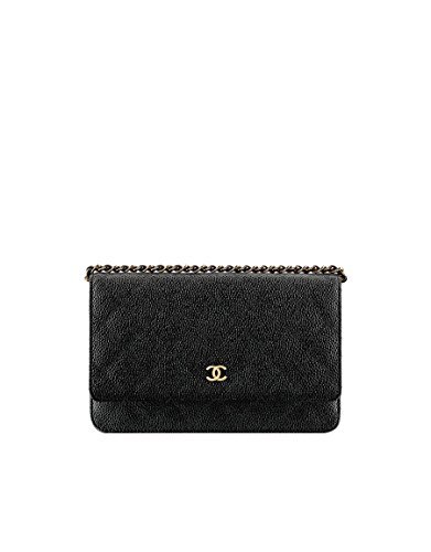 CHANEL Grained Calfskin Gold Medal Black Wallet On Chain A33814