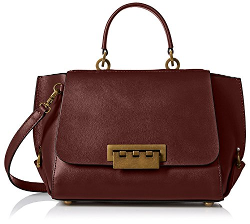 ZAC Zac Posen Women's Contrast-Lined Eartha Folded-Gusset Top-Handle Bag, Vino