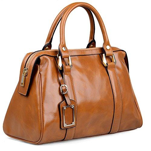 Jack&Chris Women's Vintage Leather Handbag Organizer Shoulder Bag Purse, WBGT048