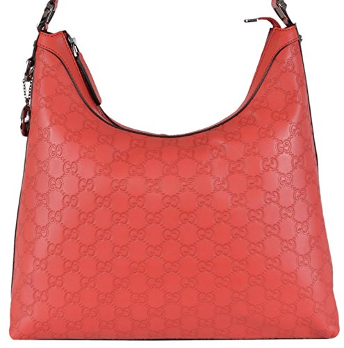 Gucci Women's Coral Red GG Guccissima Leather GG Pendant Hobo Handbag