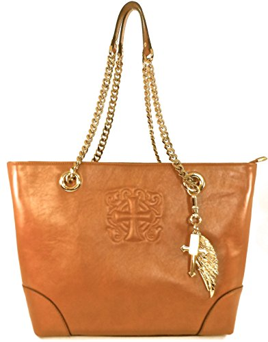 Sylvia Noster Women's Madison with Embossed Cross Motif Saddle Chain Tote