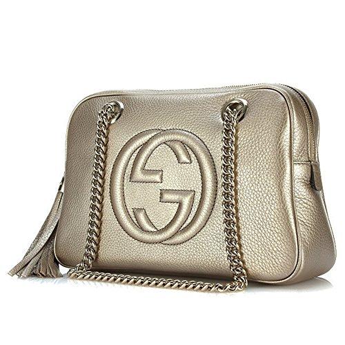 Gucci Soho Golden Beige Soft Metallic Leather Chain Shoulder Bag 308983 AH90G 9524