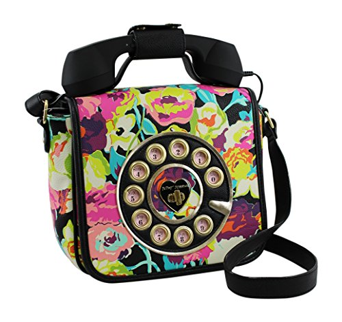 Betsey Johnson Phone A Friend Crossbody Purse in Black/Floral