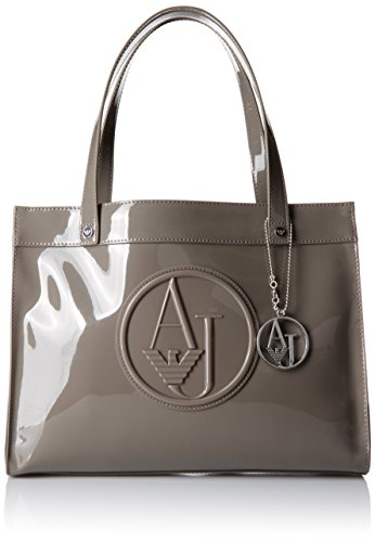 Armani Jeans Eco Patent with Detachable Charm Tote Bag, Grey, One Size