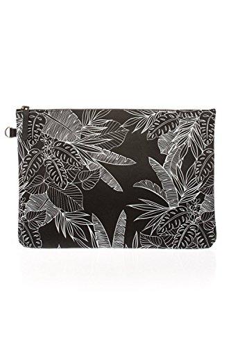 Nine Art Women's Fashion 7002 Tropical Digital Print Clutch bag, Black