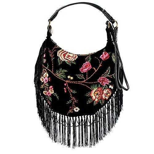 Mary Frances Vintage Garden Black Velvet Flower Fringe Handbag
