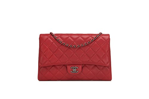 Chanel Red Quilted Lambskin New Clutch With Chain