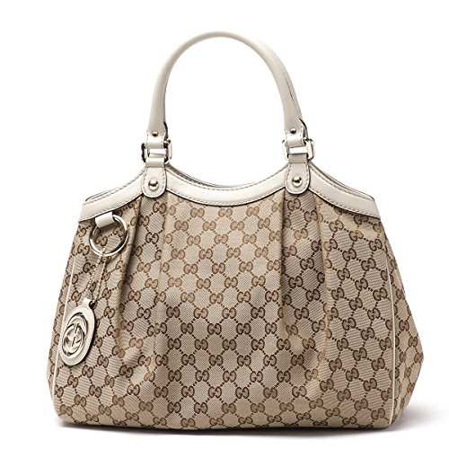 Gucci 211944 Sukey Medium Beige Original GG Monogram Canvas Leather Guccissima Handbag Off-White