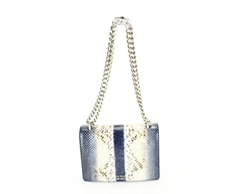 Prada Womens Pitone Shoulder Bag – Blue Leather