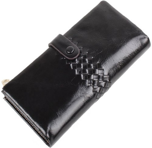 Heshe® Women's Cow Leather Purse Organizer Wallet Zippered Clutch Hand Bag