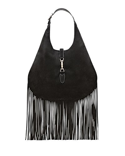 Gucci Nouveau Fringe Black Suede Large Hobo New Jackie Handbag
