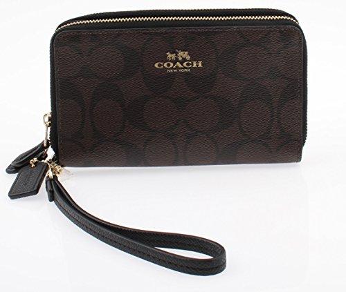 Coach Signature PVC Wristlet Double Zip Wallet Phone Case F53937