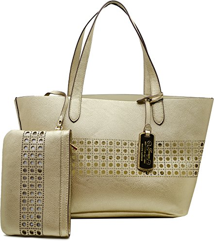 Lauren Ralph Lauren Womens Gold/ Ivory Leighton Shopper Handbag