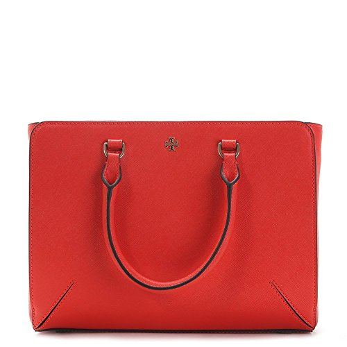 Tory Burch Robinson Small Zip Tote Bag 11169775 Poppy Red One Size