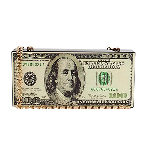 SharPlus Women Hard Acrylic Evening Box Clutch Purse 100 US Dollar Handbag