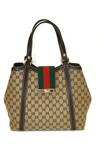 Gucci Handbag Beige Canvas and Brown Leather