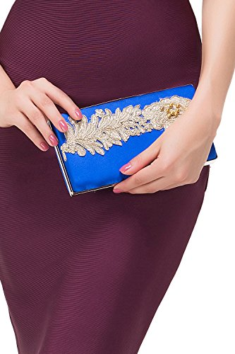 Misshow Women Applique Beaded Evening Handbags Fashion Party Clutches