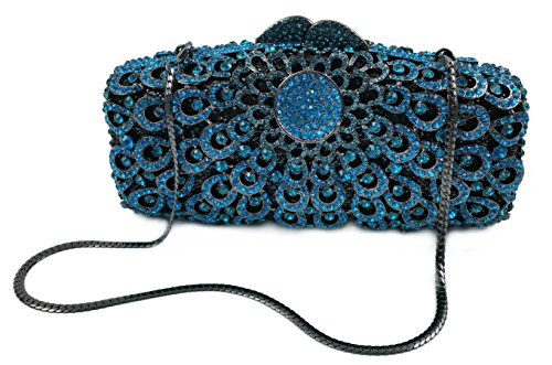"""Nerissa"" Blue Diamond Studded Clutch Purse. Swarovski Crystals, 10″ chain, Hard Case, Leather Lined."