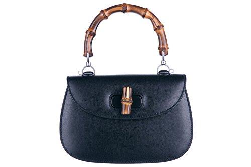 Gucci women's leather handbag shopping bag purse bamboo black