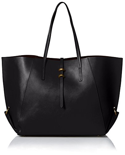 ZAC Zac Posen Women's Contrast Lined Eartha Folded Gusset Shopper, Black