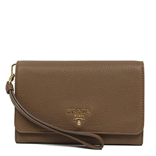 PRADA Portafoglio Saffiano Vernic Cannella Tan Brown Leather Wristlet Wallet Bag 1M1438