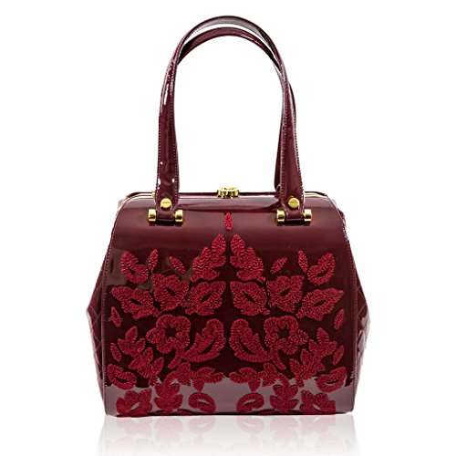 Valentino Orlandi Italian Designer Burgundy Embroidered Leather Jeweled Bag