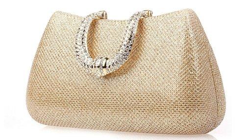 Ilishop Women's Gold Famous Brand Clutch Handbag