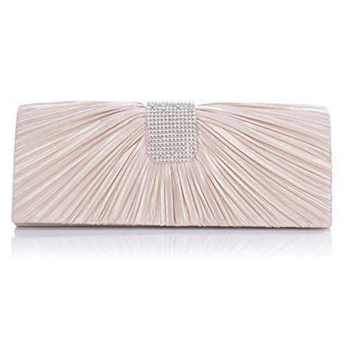 WINOMO Women Bridal Evening Clutch Bag Handbag Tote Shoulder Bag (Beige)