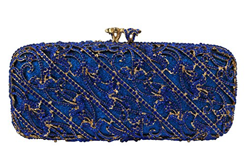 Yilongsheng 2016 New Women's Oblique Vines Shape Wedding Evening Party Handbags with Crystal Hinestones Golden Evening Clutch Bags Beautiful Evening Clutch Bag for Women (Blue)