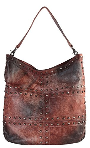 Diophy Fashion Vintage-Dye Gradient Stud Real Leather Hobo Bag Handbag 150265