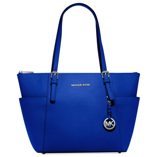 Michael Kors Jet Set East West Top Zip Leather Tote in Electric Blue