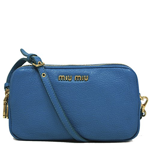 Miu Miu by Prada Madras Turchese Cellulare Bright Turquoise Blue Leather Wristlet Bag 5ARH02