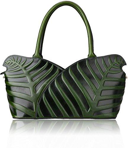Pijushi Designer Leaf Genuine Leather Top Handle Bag Shoulder Handbags 22352