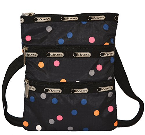 LeSportsac 2 Zip Pocket Crossbody Bag Purse Handbag Kasey in LITHO DOT Dot