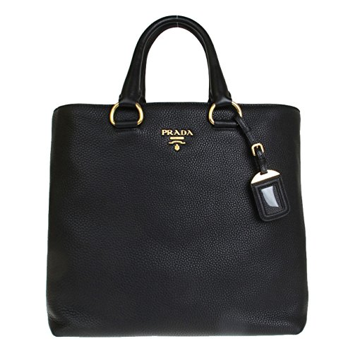 Prada Daino Textured Leather Shopping Tote Bag BN2865, Nero Black