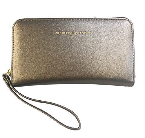 Adrienne Vittadini Charging Zip Around Wallet Wristlet – iPhone Android – Gunmetal Smooth