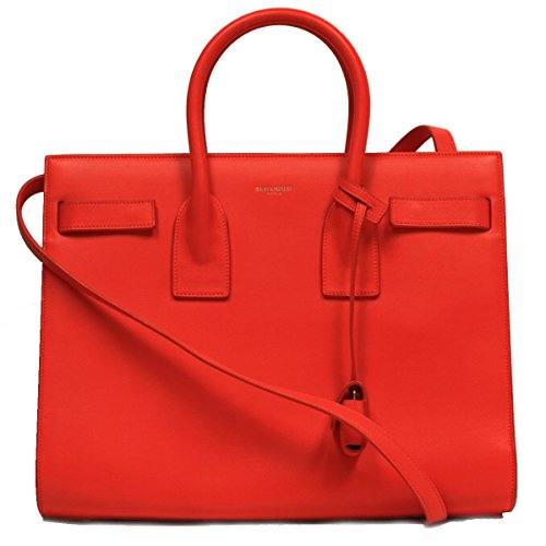 Saint Laurent Neon Orange Calf Leather Classic Small Sac De Jour Satchel Bag 324823