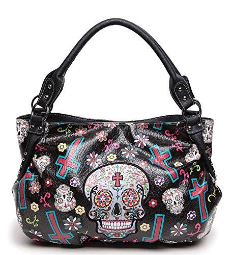 Sugar Skull Floral Cross Design Vegan Leather Boho Purse