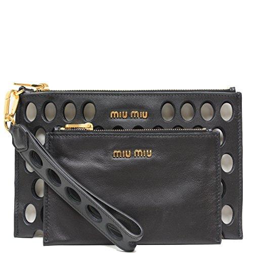 Miu Miu Prada Soft Calf Leather Fori Piatto Maniglia Clutch Bag Wristlet 5N1884