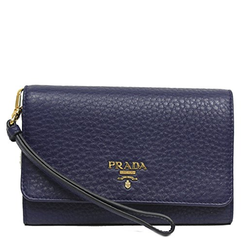 PRADA Portafoglio Vitello Grain Royal Blue Leather Wristlet Wallet Bag 1MH438