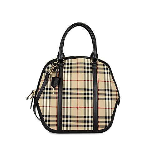 Burberry Large Orchard Horseferry Check Bowling Bag – Honey/Black
