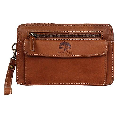 Rustic Town Leather Hand Pouch Men Purse Wallet Clutch Wrist Bag