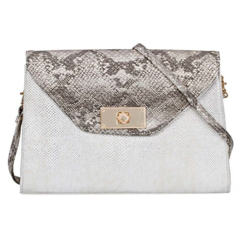 BMC Fashionably Chic Metallic Faux Snakeskin Large Envelope Statement Clutch