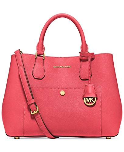 Michael Kors Watermelon Luggage Large Greenwich Leather Tote Grab Bag Purse