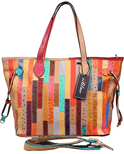 Iblue Womens Handbag Multicolor Ostrich Grain Tote Genuine Leather Shoulder Bag 17in #226