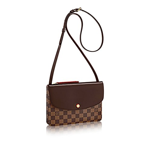 Authentic Louis Vuitton Damier Ebene Canvas Twice Cross Body Handbag Article: N48259 Damier