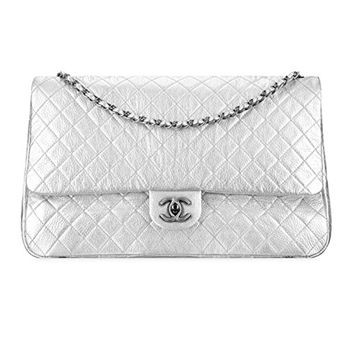 Authentic Chanel Large Classic Flap Bag Metallic Calfskin Item A91169 Y60583 45002 Made in France