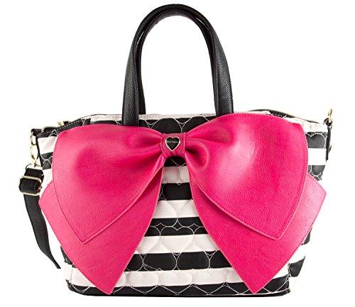 Betsey Johnson Candy Stripe Oh Bow Nanza Satchel Bag