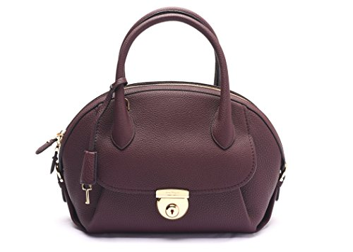 Salvatore Ferragamo Fiamma Leather Satchel Handbag 21 E770 13 7 Burgundy