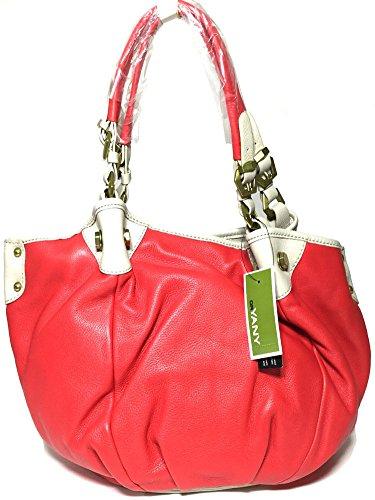 orYANY Jesse Berry Leather Beige Multi Satchel Tote Bag